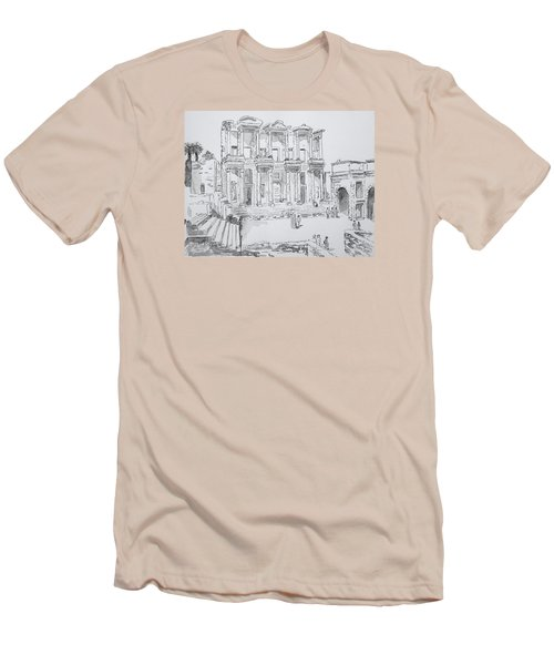 Men's T-Shirt (Slim Fit) featuring the painting Library At Ephesus by Marilyn Zalatan