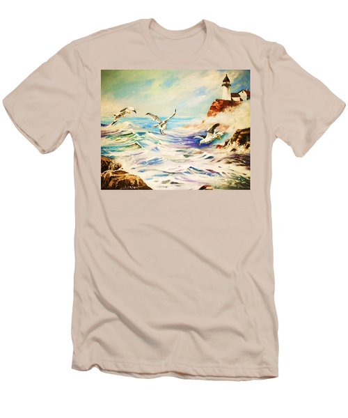 Lighthouse Gulls And Waves Men's T-Shirt (Slim Fit) by Al Brown