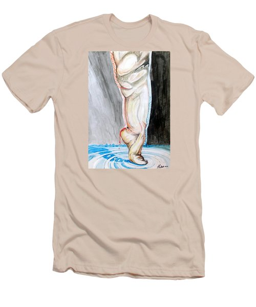 Men's T-Shirt (Slim Fit) featuring the painting Lightweight Of The Being Listen With Music Of The Description Box by Lazaro Hurtado