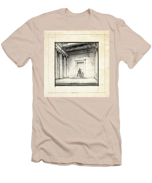 Lincoln Memorial Sketch IIi Men's T-Shirt (Slim Fit) by Gary Bodnar