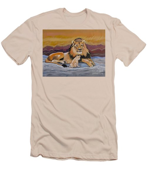 Men's T-Shirt (Slim Fit) featuring the painting Lion And Cub by Phyllis Kaltenbach