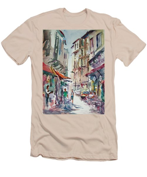 Men's T-Shirt (Slim Fit) featuring the painting Little Trip At Exotic Streets In Istanbul by Faruk Koksal