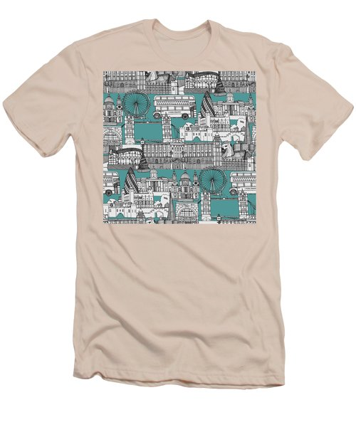 London Toile Blue Men's T-Shirt (Slim Fit) by Sharon Turner