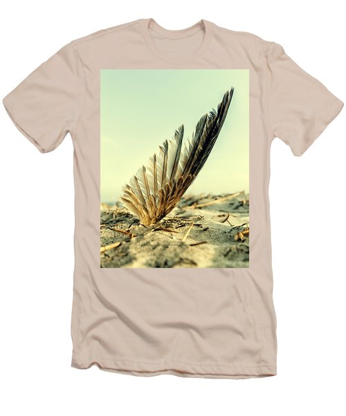 Lost Feather At The Beach Men's T-Shirt (Slim Fit) by Mike Santis