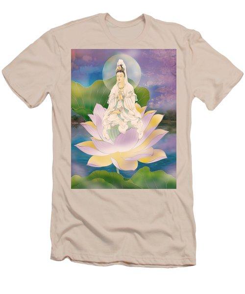Lotus-sitting Avalokitesvara  Men's T-Shirt (Slim Fit) by Lanjee Chee