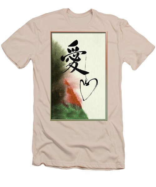 Love Brush Calligraphy With Heart Men's T-Shirt (Slim Fit) by Peter v Quenter