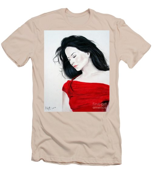 Lucy Liu The Lady In Red Men's T-Shirt (Slim Fit) by Jim Fitzpatrick
