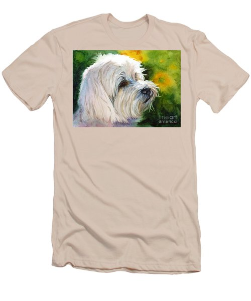 Men's T-Shirt (Slim Fit) featuring the painting Maltese by Bonnie Rinier