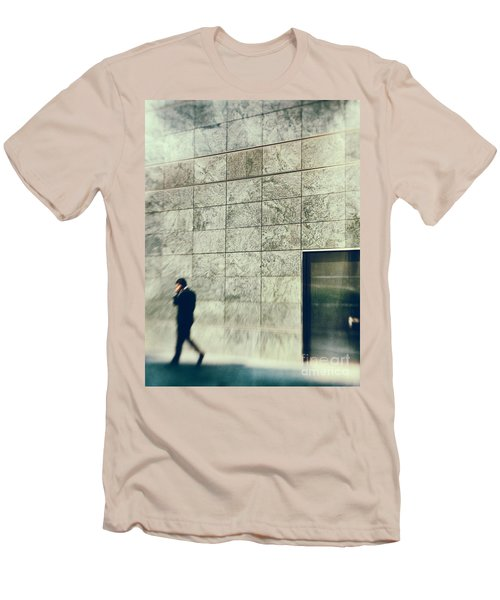 Men's T-Shirt (Slim Fit) featuring the photograph Man With Cell Phone by Silvia Ganora