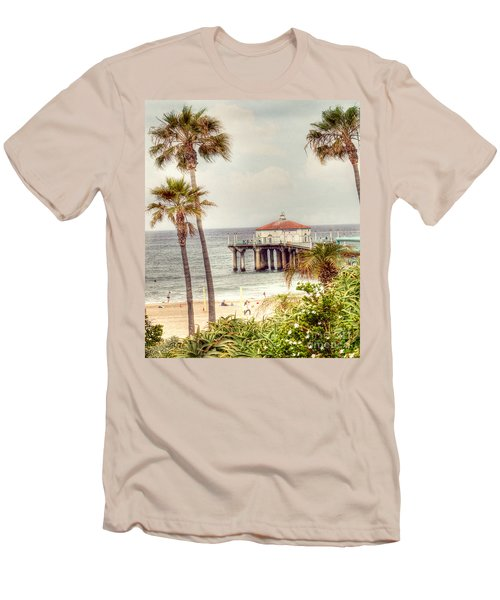 Manhattan Beach Pier Men's T-Shirt (Slim Fit) by Juli Scalzi