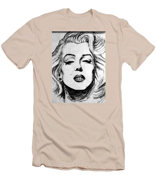 Men's T-Shirt (Slim Fit) featuring the painting Marilyn Monroe by Salman Ravish