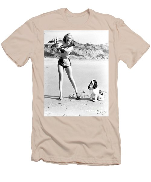 Marilyn Playing Baseball At The Beach Men's T-Shirt (Athletic Fit)