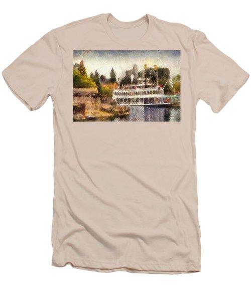 Mark Twain Riverboat Frontierland Disneyland Photo Art 02 Men's T-Shirt (Slim Fit) by Thomas Woolworth