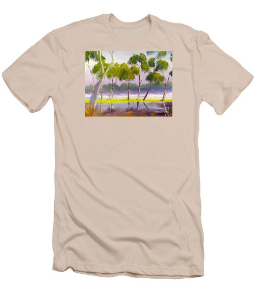 Men's T-Shirt (Slim Fit) featuring the painting Marshlands Murray River Red River Gums by Pamela  Meredith