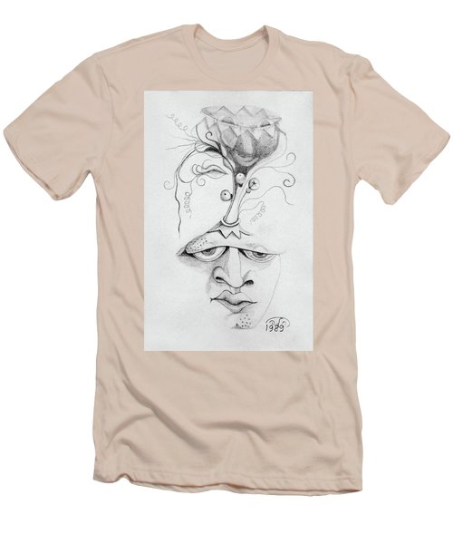 Meditation On The Crown Chakra Or Where Is Your Mind Going Surrealistic Fantasy Of Face With Energy  Men's T-Shirt (Slim Fit) by Rachel Hershkovitz