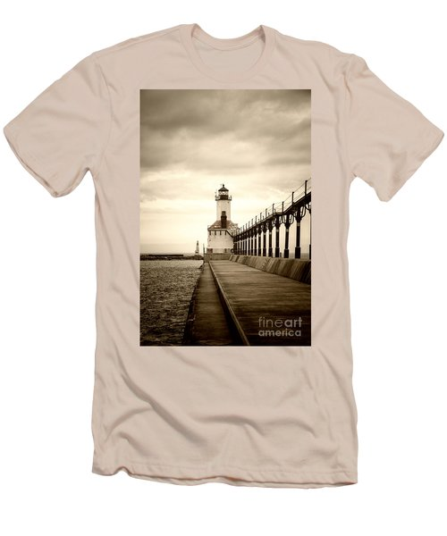 Michigan City Lighthouse Men's T-Shirt (Athletic Fit)