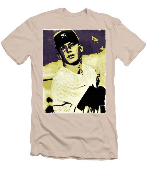 Mickey Mantle Poster Art Men's T-Shirt (Slim Fit) by Florian Rodarte