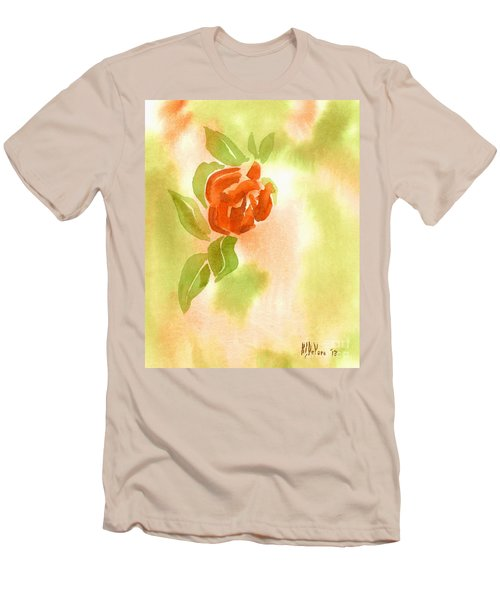 Men's T-Shirt (Slim Fit) featuring the painting Miniature Red Rose II by Kip DeVore