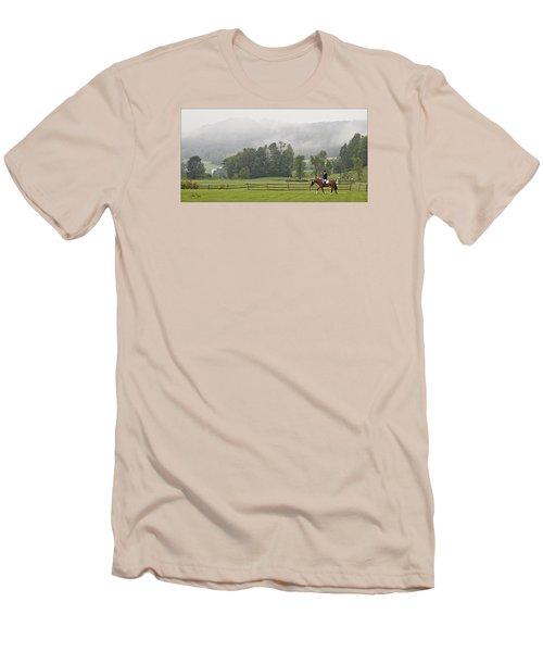 Misty Morning Ride Men's T-Shirt (Slim Fit) by Joan Davis