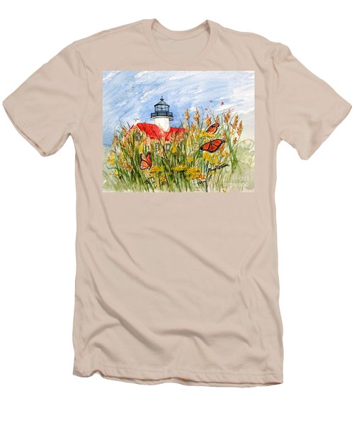 Monarch Butterflies At East Point Light Men's T-Shirt (Athletic Fit)