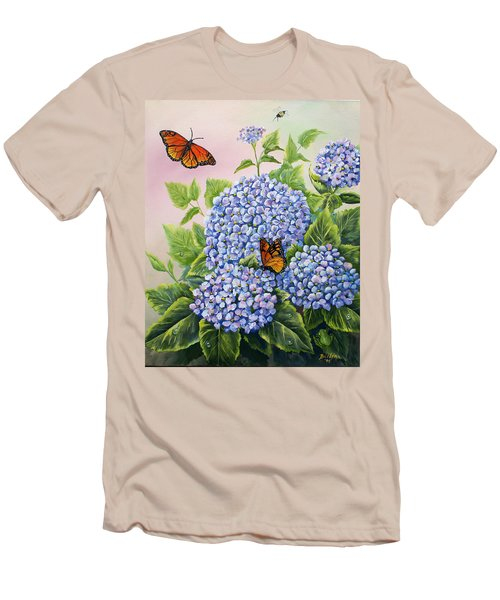 Monarchs And Hydrangeas Men's T-Shirt (Slim Fit) by Gail Butler