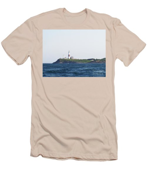 Montauk Lighthouse From The Atlantic Ocean Men's T-Shirt (Slim Fit) by John Telfer