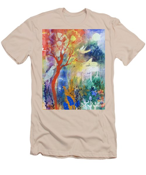 Men's T-Shirt (Slim Fit) featuring the painting Moonlight Serenade by Robin Maria Pedrero