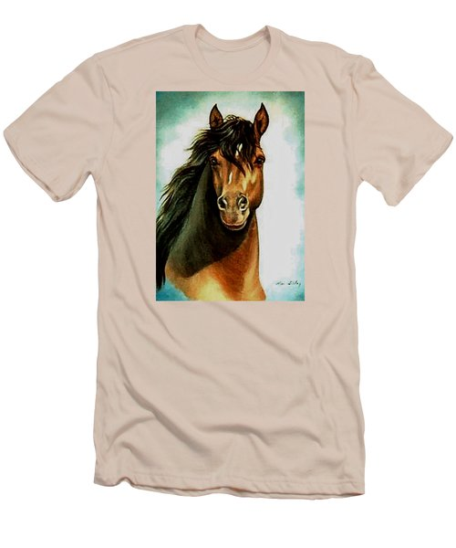 Men's T-Shirt (Slim Fit) featuring the painting Morgan Horse by Loxi Sibley