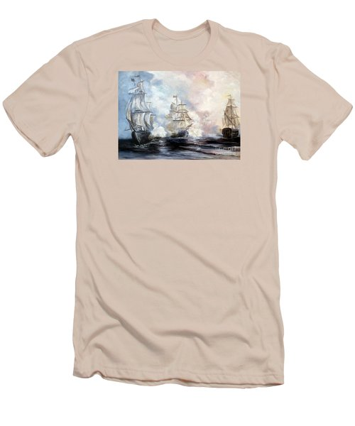 Men's T-Shirt (Slim Fit) featuring the painting Morning Battle by Lee Piper