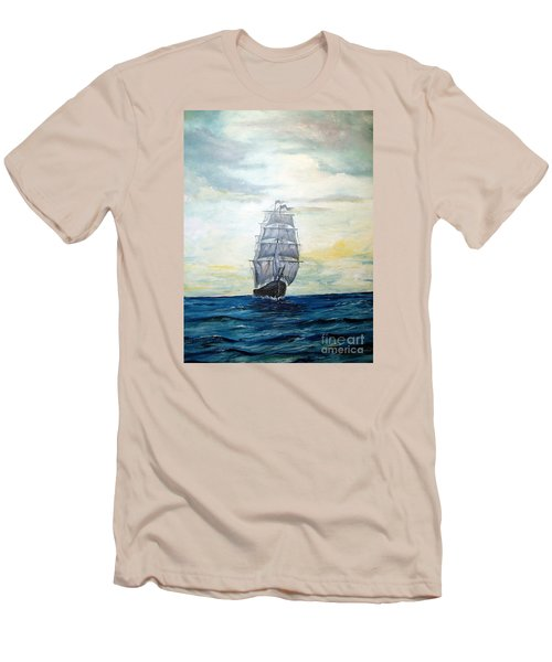 Men's T-Shirt (Slim Fit) featuring the painting Morning Light On The Atlantic by Lee Piper