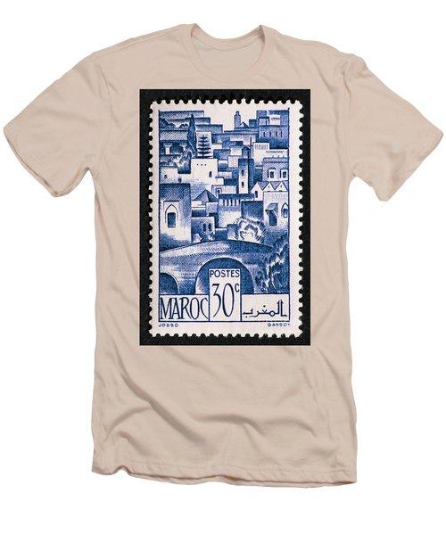 Morocco Vintage Postage Stamp Men's T-Shirt (Slim Fit) by Andy Prendy