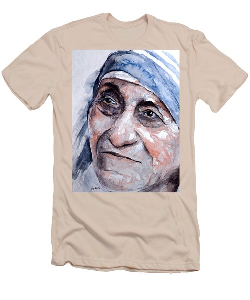 Mother Theresa Watercolor Men's T-Shirt (Slim Fit) by Laur Iduc