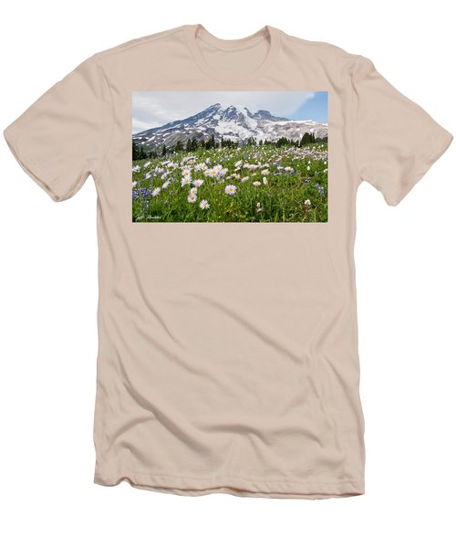 Mount Rainier And A Meadow Of Aster Men's T-Shirt (Slim Fit) by Jeff Goulden