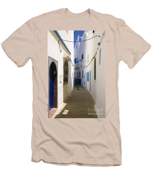 Men's T-Shirt (Slim Fit) featuring the photograph Narrow Backstreet In The Medina Of Asilah On Northwest Tip Of Atlantic Coast Of Morocco by Ralph A  Ledergerber-Photography