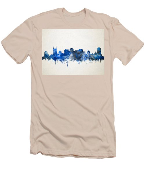 Nashville Skyline Watercolor 11 Men's T-Shirt (Slim Fit) by Bekim Art