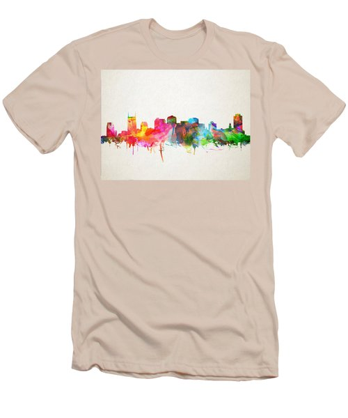 Nashville Skyline Watercolor 9 Men's T-Shirt (Slim Fit) by Bekim Art