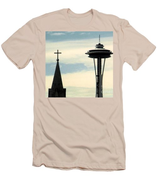 Men's T-Shirt (Slim Fit) featuring the photograph Seattle Washington Space  Needle Steeple And Cross by Michael Hoard