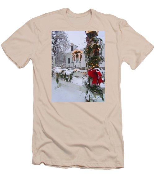 New England Christmas Men's T-Shirt (Slim Fit) by Elizabeth Dow