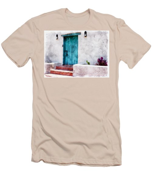 New Mexico Turquoise Door And Cactus  Men's T-Shirt (Slim Fit) by Barbara Chichester