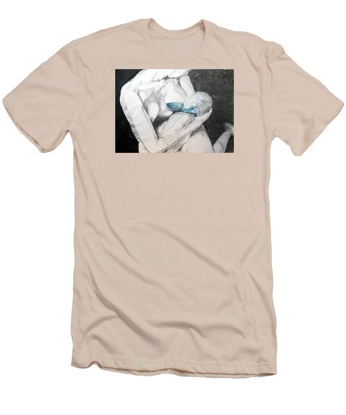 Men's T-Shirt (Slim Fit) featuring the painting Nurturing The Sea by Lazaro Hurtado