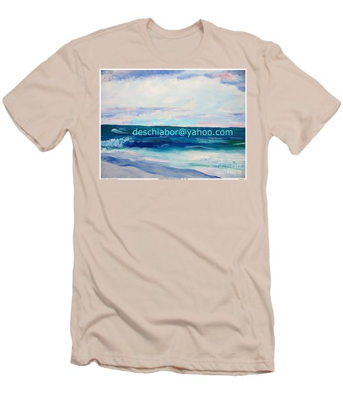 Men's T-Shirt (Slim Fit) featuring the painting Ocean Assateague Virginia by Eric  Schiabor