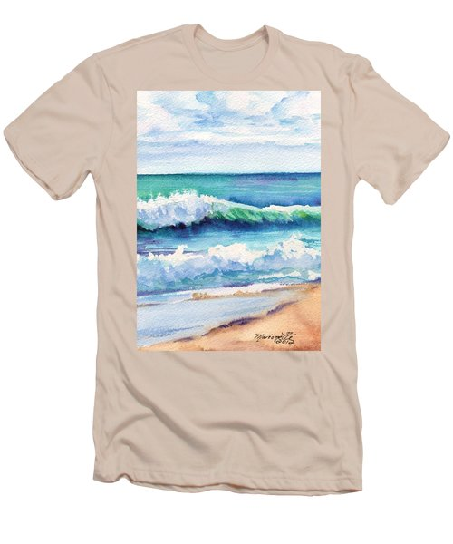Men's T-Shirt (Slim Fit) featuring the painting Ocean Waves Of Kauai I by Marionette Taboniar