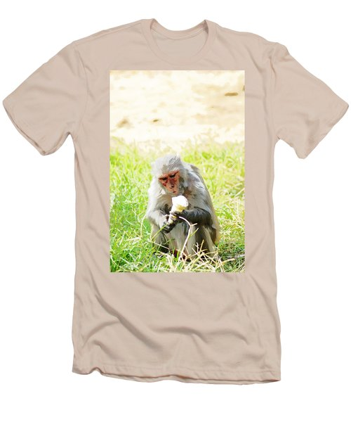 Oil Painting - A Monkey Eating An Ice Cream Men's T-Shirt (Athletic Fit)