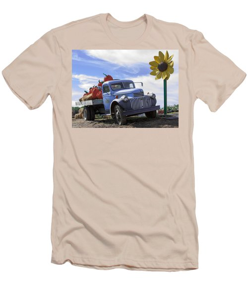 Men's T-Shirt (Slim Fit) featuring the photograph Old Blue Farm Truck  by Patrice Zinck