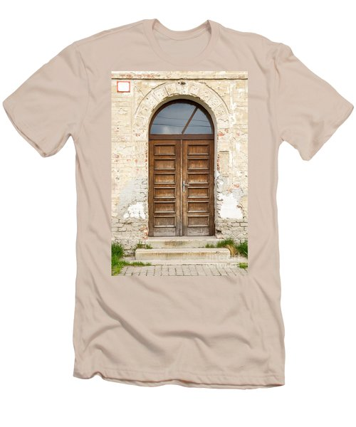 Men's T-Shirt (Slim Fit) featuring the photograph Old Church Door by Les Palenik