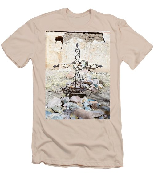 Men's T-Shirt (Slim Fit) featuring the photograph Old Gravestone Marker by Kerri Mortenson
