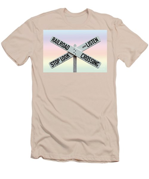 Old Railroad Crossing Sign Men's T-Shirt (Athletic Fit)