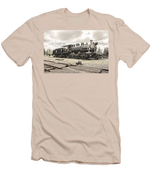 Men's T-Shirt (Slim Fit) featuring the photograph Old Steam Locomotive No. 97 - Made In America by Gary Heller