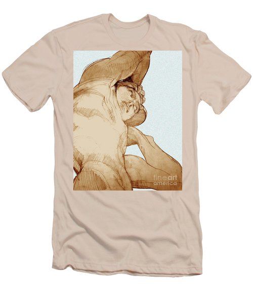Men's T-Shirt (Slim Fit) featuring the drawing Olympic Athletics Discus Throw by Greta Corens