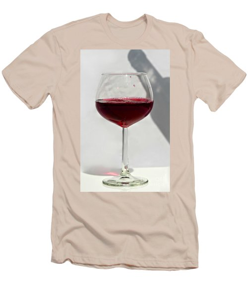 One Glass Of Red Wine With Bottle Shadow Art Prints Men's T-Shirt (Slim Fit) by Valerie Garner